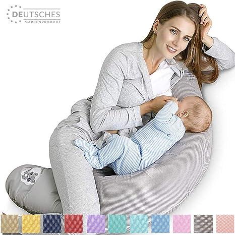 Sei Design - Cojín de lactancia (170 x 30 cm) Relleno: bolas de fibra 3D sin sustancias tóxicas con certificado Ökotex. Funda con cremallera y bordado ...