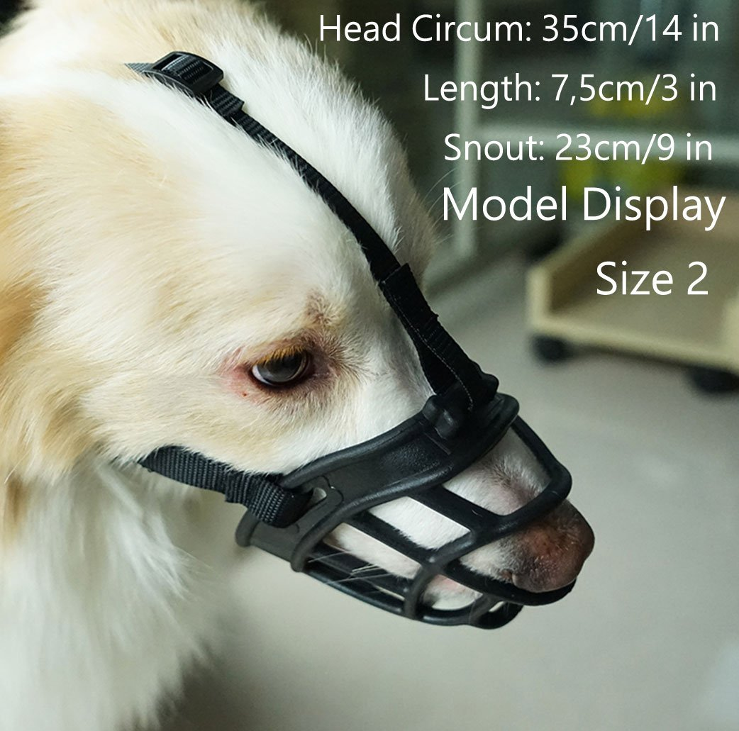 Dog Muzzle,Soft Rubber Basket Muzzles for Dog, Best to Prevent Biting, Chewing and Barking, Allows Drinking and Panting, Used with Collar (Size3 (Snout 10-12), Black) Barkless