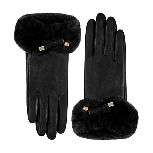 a15f00d76 GSG Ladies Rex Rabbit Fur Touchscreen Gloves Fashion Bowtie Italian Genuine  Nappa Leather Cold Weather Gloves