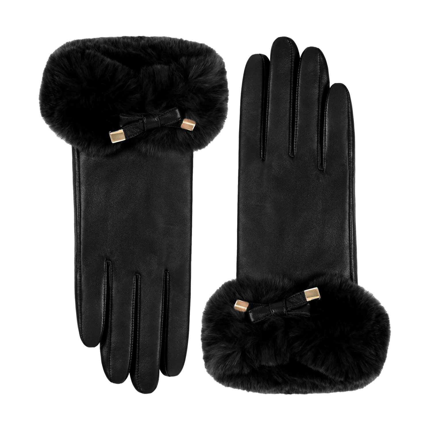 GSG Ladies Rex Rabbit Fur Touchscreen Gloves Fashion Bowtie Italian Genuine Nappa Leather Cold Weather Gloves Warm Wool Lined Winter Gifts Black 8