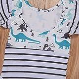Minesiry Infant Baby Girl Dinosaur Stripe Ruffle