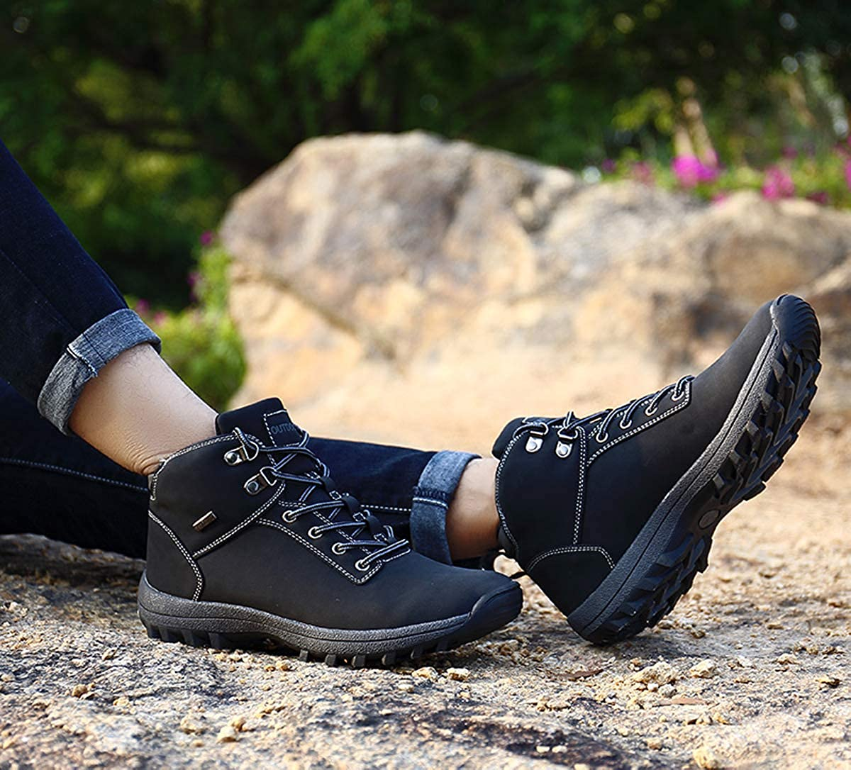 Mens Trekking Hiking Shoes Mid Ankle Boots Non-Slip Rubber Sole Waterproof Outdoor Shoes