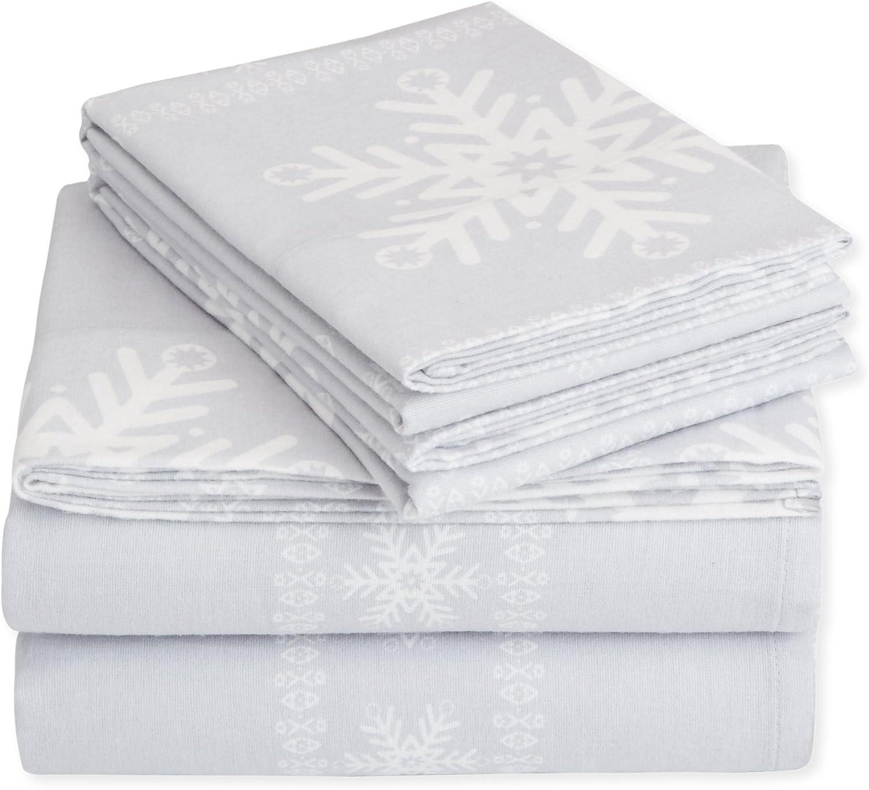 Amazon Com Pinzon Cotton Flannel Bed Sheet Set Twin Xl Snowflake Grey Home Kitchen
