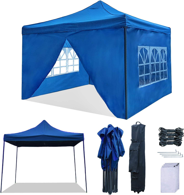 Camping RNSSEZ Carpa Plegable 3x3 m con 4 Laterales Cenador Plegable Impermeable Jard/ín Gazebo para Fiestas Bodas Azul al Aire Libre