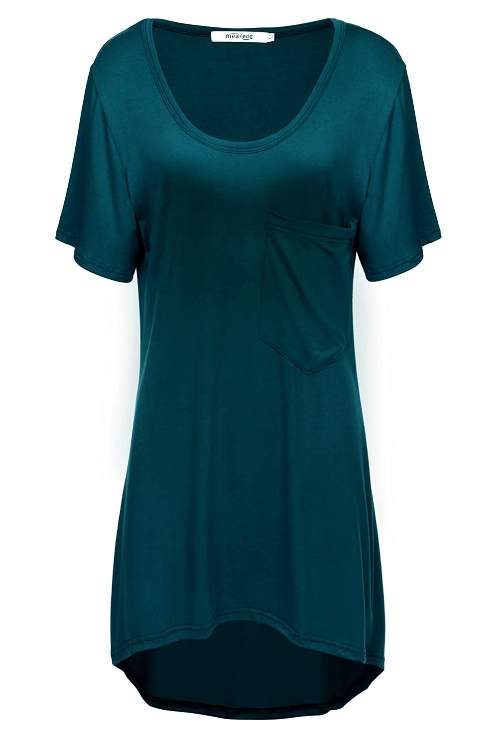 Meaneor Women's High Low Hem Scoop Neck Loose Casual T-Shirt Tunic Top
