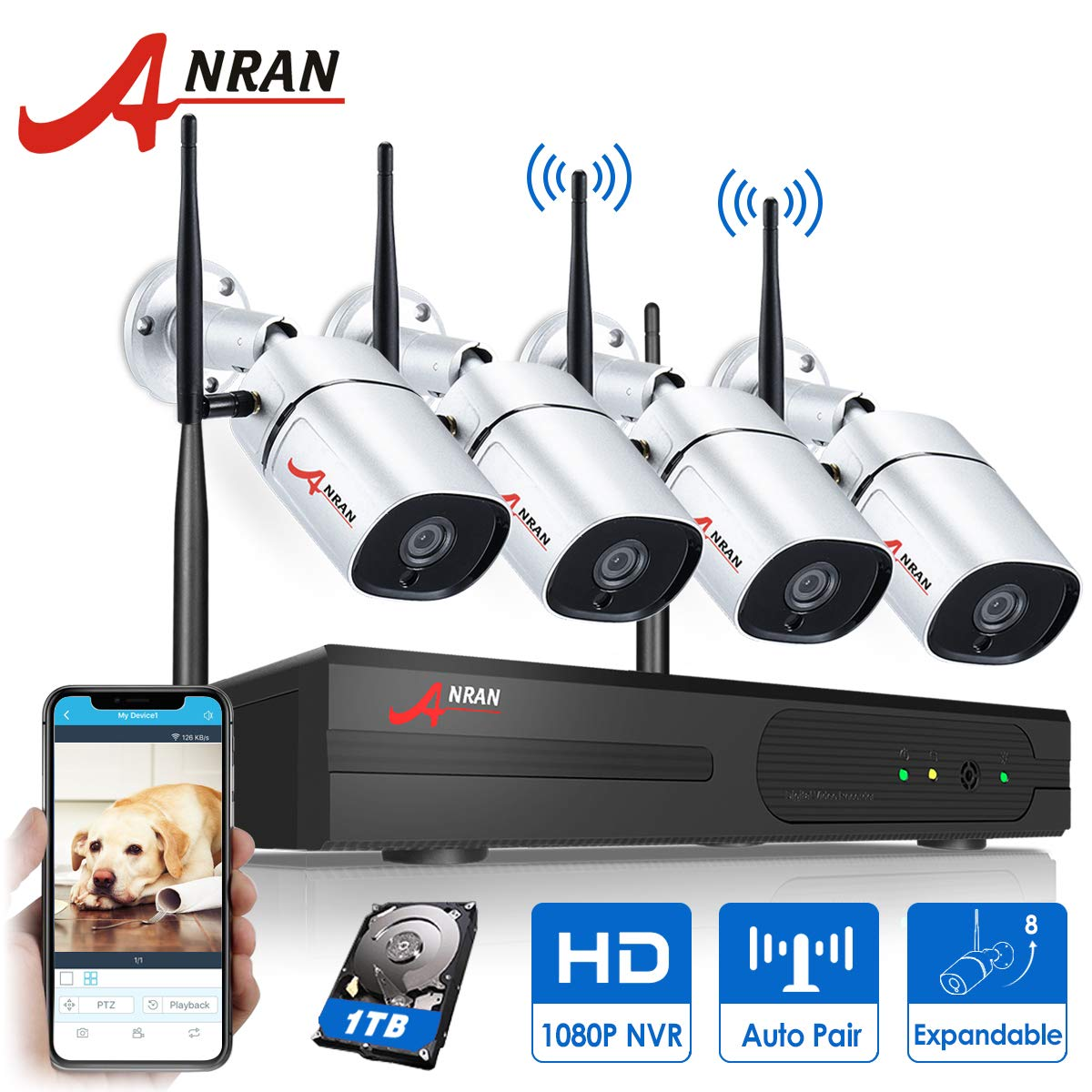 [8CH Expandable] ANRAN 1080P 8CH Wireless Security Camera System 4Pcs 2MP Wireless Security Surveillance Indoor/Outdoor IP Cameras P2P CCTV Camera System Plug&Play Easy Remote View 1TB HDD Pre-Install by ANRAN