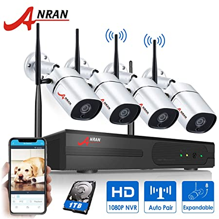 8CH Expandable ANRAN 1080P 8CH Wireless Security Camera System 4Pcs 2MP Wireless Security Surveillance Indoor Outdoor IP Cameras P2P CCTV Camera System Plug Play Easy Remote View 1TB HDD Pre-Install