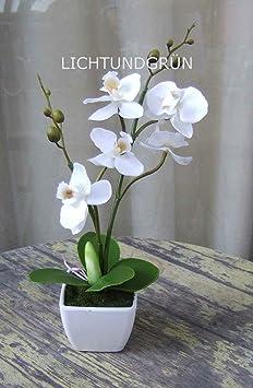 Künstliche Orchidee im weißen Topf mit weißen Blüten ca. 30cm hoch