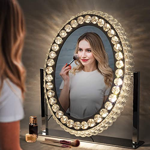 Makeup Mirror with Lights, LED Vanity Mirror with Dimmable Lights, Touch Screen, 360 Degrees Swivel Cosmetic Mirror for Home, Living Room, Bedroom