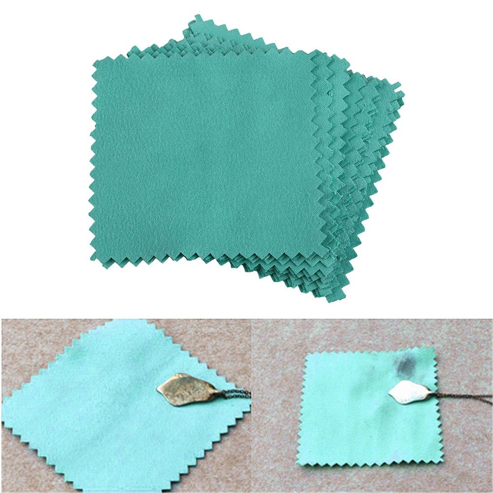 Kicode 10Pcs Jewelry Polishing Cleaning Cloth Blue Useful Durable for Sterling Silver Gold Platinum UKPPLBDH1292