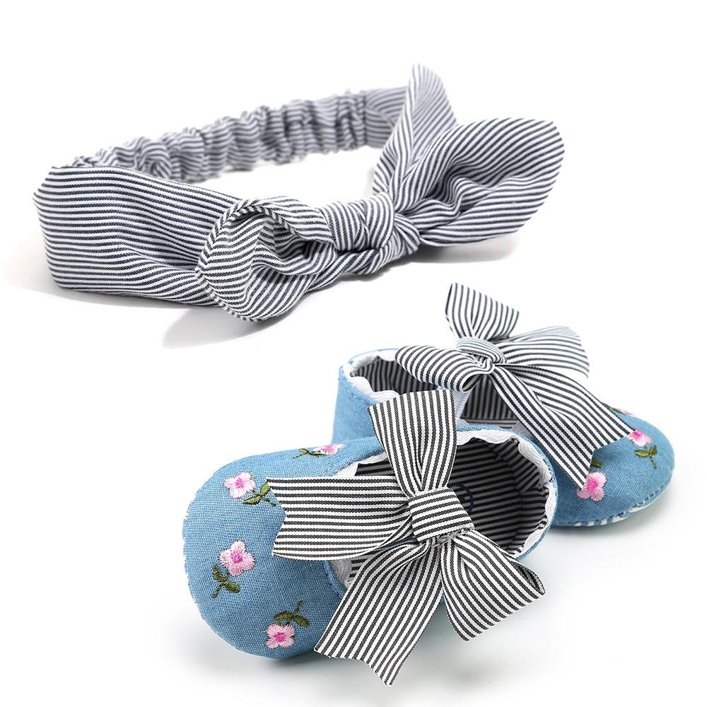 MONsin Baby Embroidery Flower Bow-Knot Soft Sole Prewalkers Infant Slippers Toddler Shoes