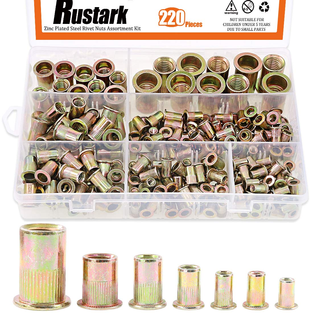 Rustark 120-Pcs #8-32UNC Mixed Zinc Plated Carbon Steel Rivet Nut Flat Head Insert Nutsert Assortment Kit