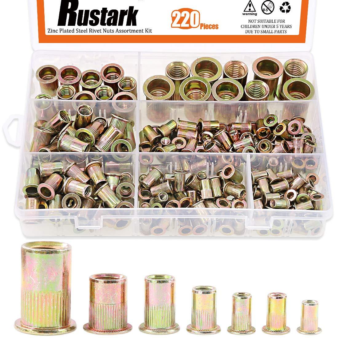 Rustark 220-Pcs Assort 8-32UNC 10-24UNC 1/4''-20UNC 5/16''-18UNC 3/8''-16UNC 1/4''-20UNC 5-32''-32UNC Mixed Zinc Plated Carbon Steel Rivet Nut Flat Head Insert Nutsert Assortment Kit