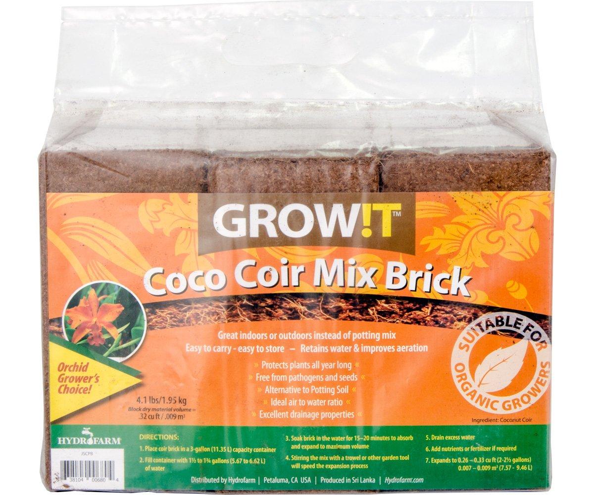 Hydrofarm GROWT JSCPB Coco Coir Mix Brick Set of 3, 1, Brown