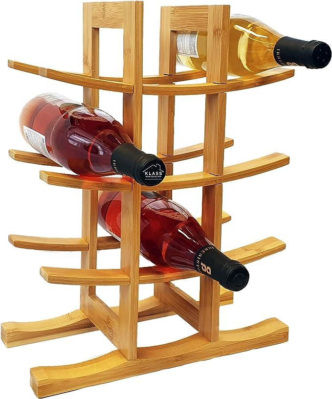 12 Bottle Klass Home Wine Rack Wine Rack Free Standing Wine Racks Free Standing Wooden 100 Natural Organic Bamboo Wine Rack Modern Design Wooden Wine Rack Wine Bottle Holder Wine Holder Amazon Co Uk Kitchen Home