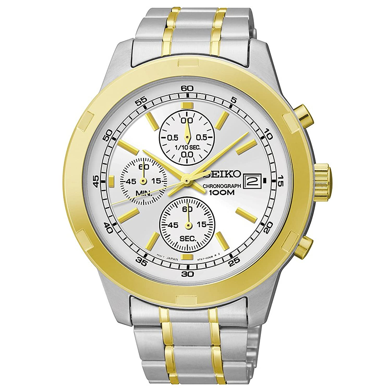 seiko chronograph silver and gold tone stainless steel
