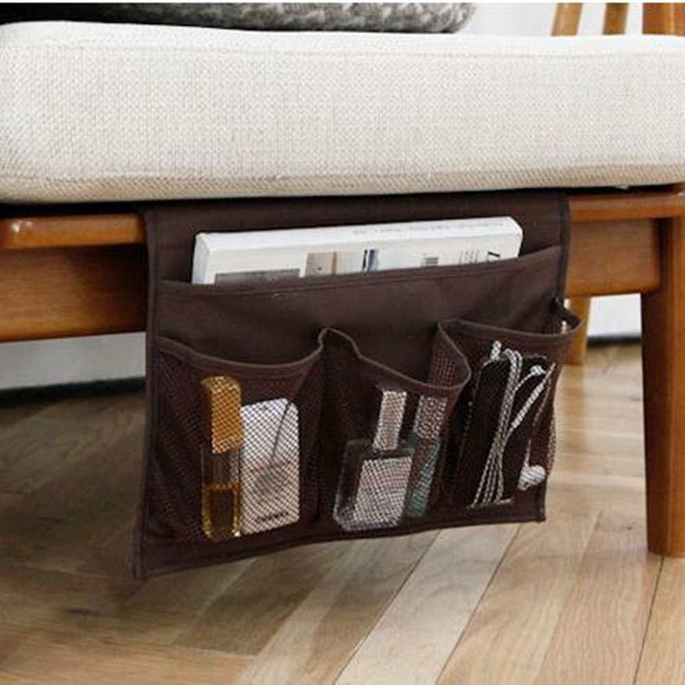 HAKACC Bedside Caddy / Bedside Storage Organizer,Under Couch Table Mattress,Book Remote Glasses Caddy,Black POP BABY