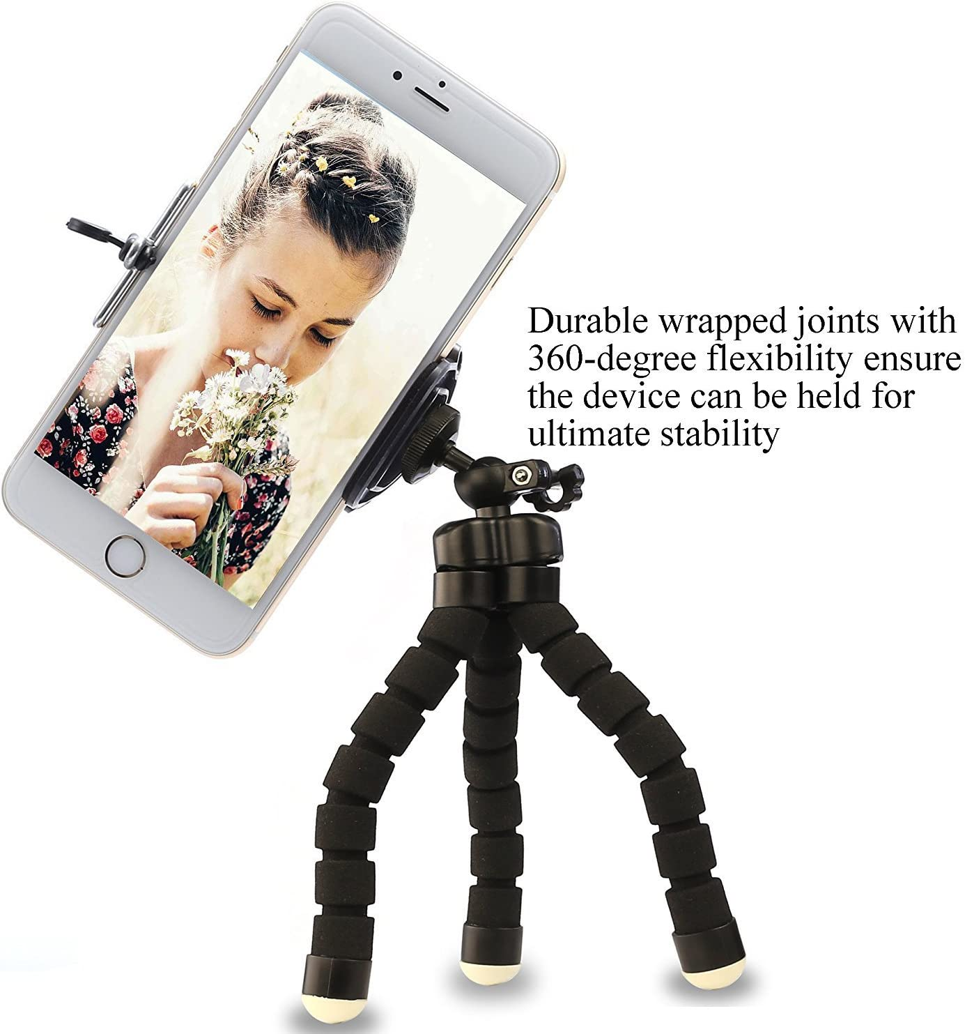 Longess Tripod for Universal Smartphone,Portable and Flexible Cell Phone Stand Mini Octopus Holder with Clip Bracket Mount Compatible with iPhone Android Sports Selfie Stick Digital Camera Red