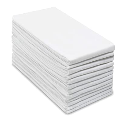 Cotton Craft 12 Pack Flour Sack Kitchen Dish Towels Also Used As Napkins 100 Pure Ringspun Cotton White 28x28 Heavy Weight 900 Gram 32