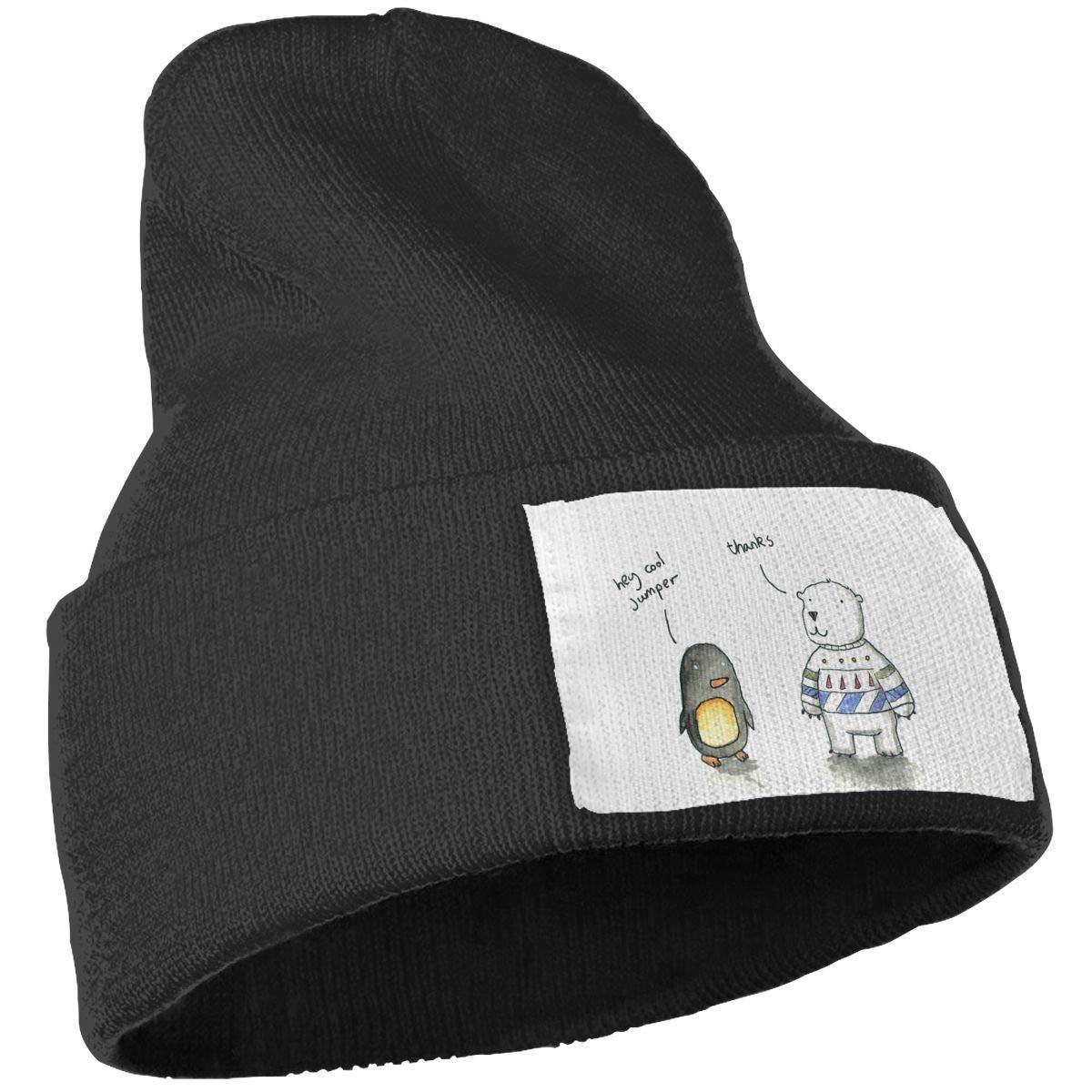 PCaag7v Cute Penguin Beanie Hat Winter Solid Warm Knit Unisex Ski Skull Cap