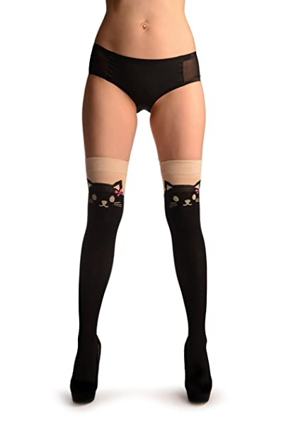 6b760e701 Cat With Pink Bows On Beige   Black - Over The Knee Socks at Amazon Women s  Clothing store