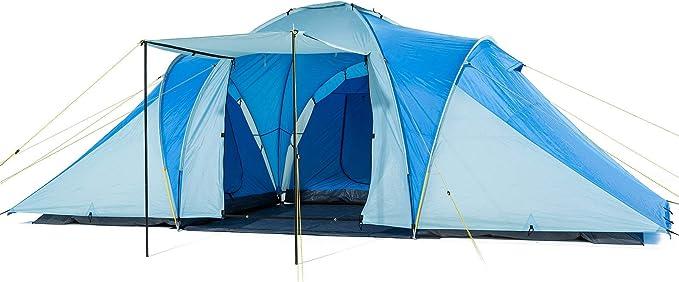 Skandika Daytona XXL - 6 Personas - Tienda de campaña Familiar - cúpula - 3 x cabinas - mosquiteras