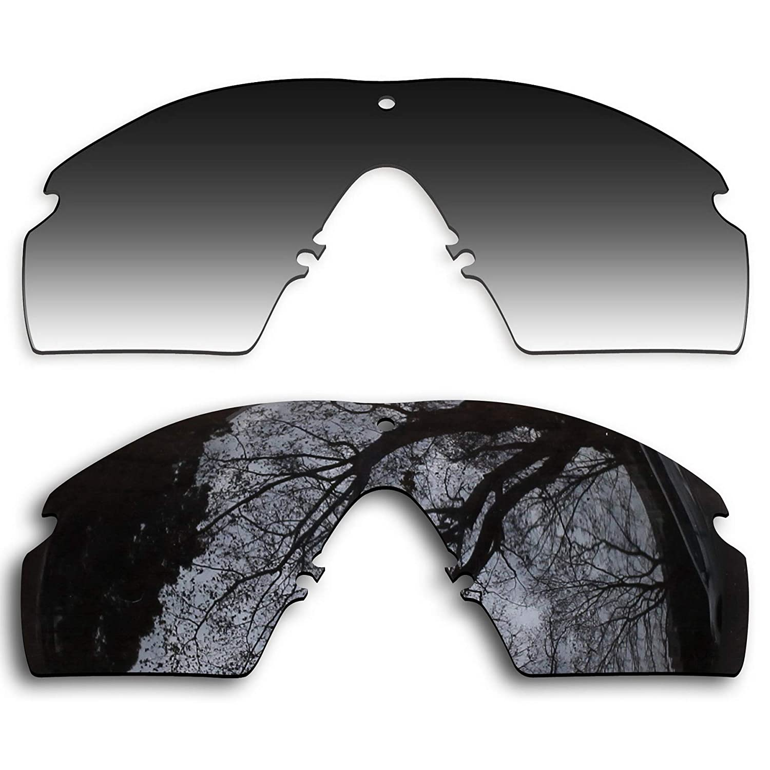 3dbfee9548c Amazon.com  2 Pair Polarized Lens Replacement for Oakley Si Ballistic M  Frame 2.0 Black Grey Gradient  Clothing