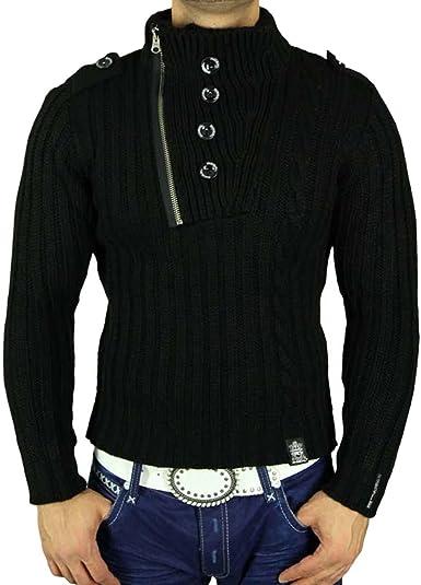 R-Neal Sudadera Jersey Punto Grueso Negro Polo Chaqueta de S ...