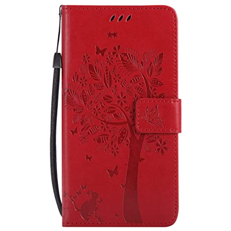 Mioc Xiaomi Mi Mix 2 Funda, Funda de Cuero para teléfono Diseño de gofrado Gato y árbol con Ranura para Tarjeta de Billetera y Hebilla magnética ...
