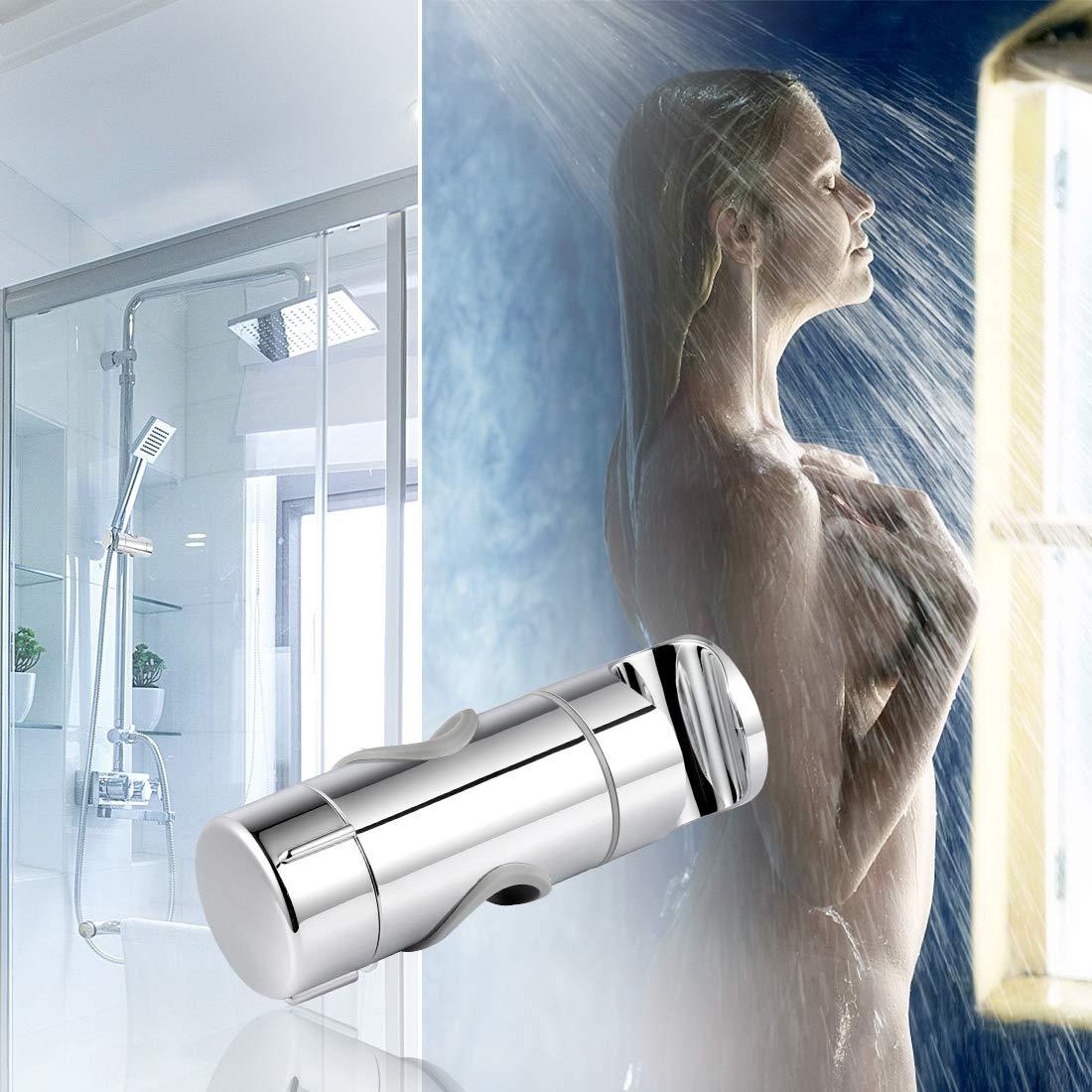 Joyoldelf Soporte universal para alcachofa de ducha ajustable a 90/°, flexible, giratorio, para barra deslizante, di/ámetro exterior de 19 a 25 mm, pl/ástico ABS, cromado