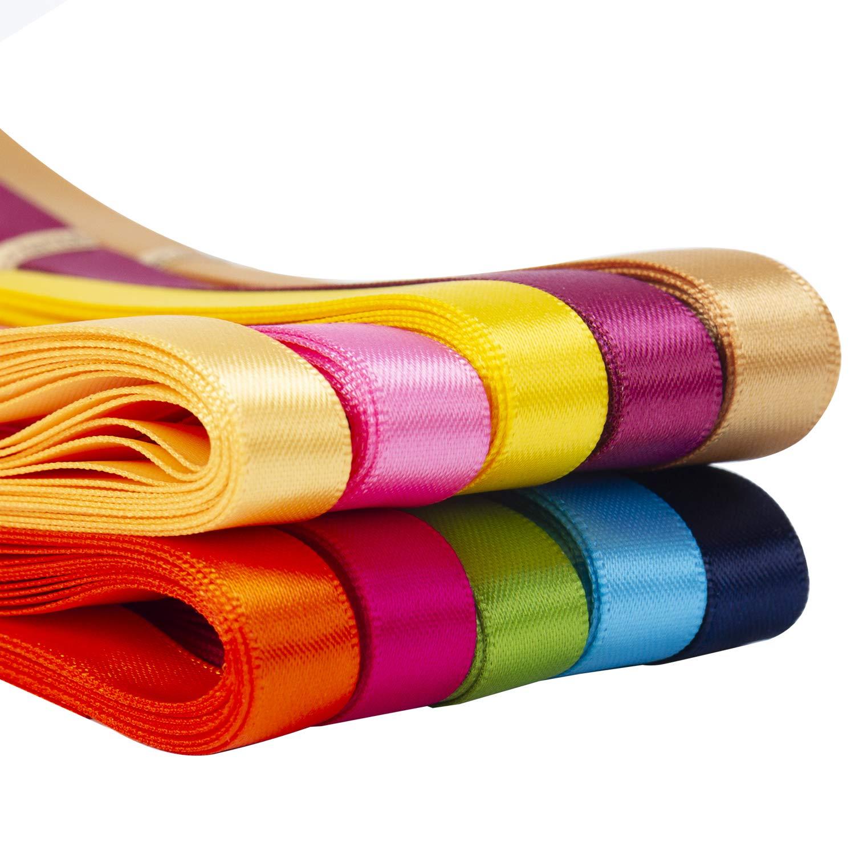 Total 45 M por Paquete RUSPEPA Cinta De Sat/én De Color S/ólido 10 Colores 9 MM X 4,5 M Cada Color