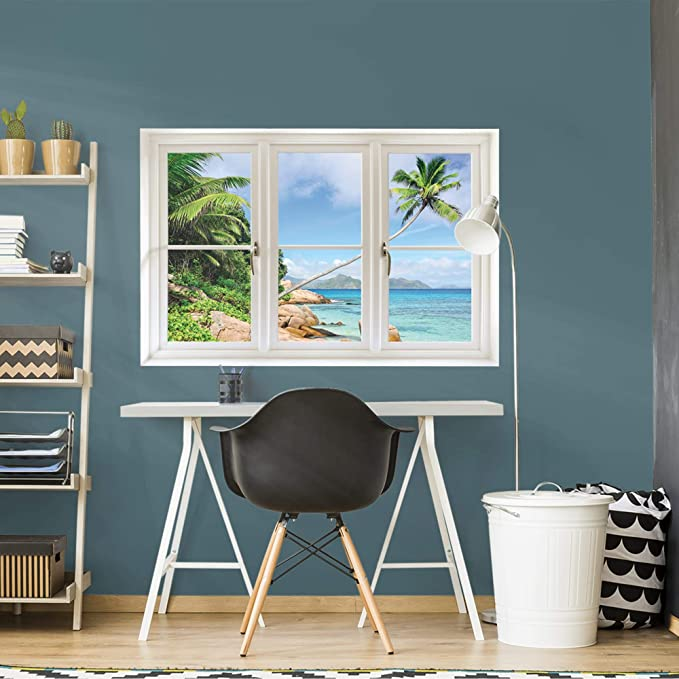 Amazon Com Fathead Wall Decal Tropical Beach Seychelles Instant Window Home Kitchen