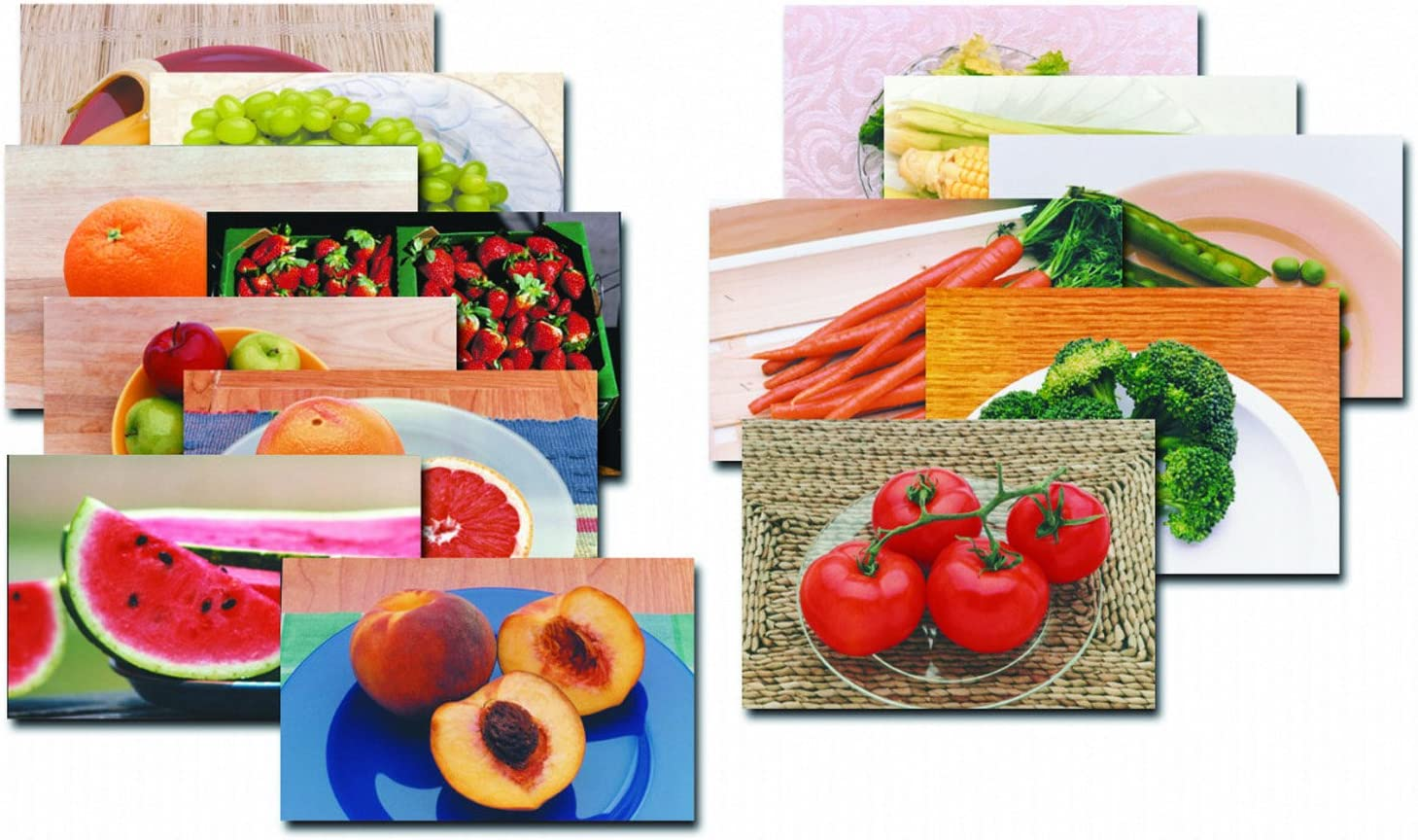 Fruits & Vegetables Posters Real Photo Classroom Decorations for Preschool Bulletin Boards & Circle Time 10 Large Picture Cards, Size 14/Large