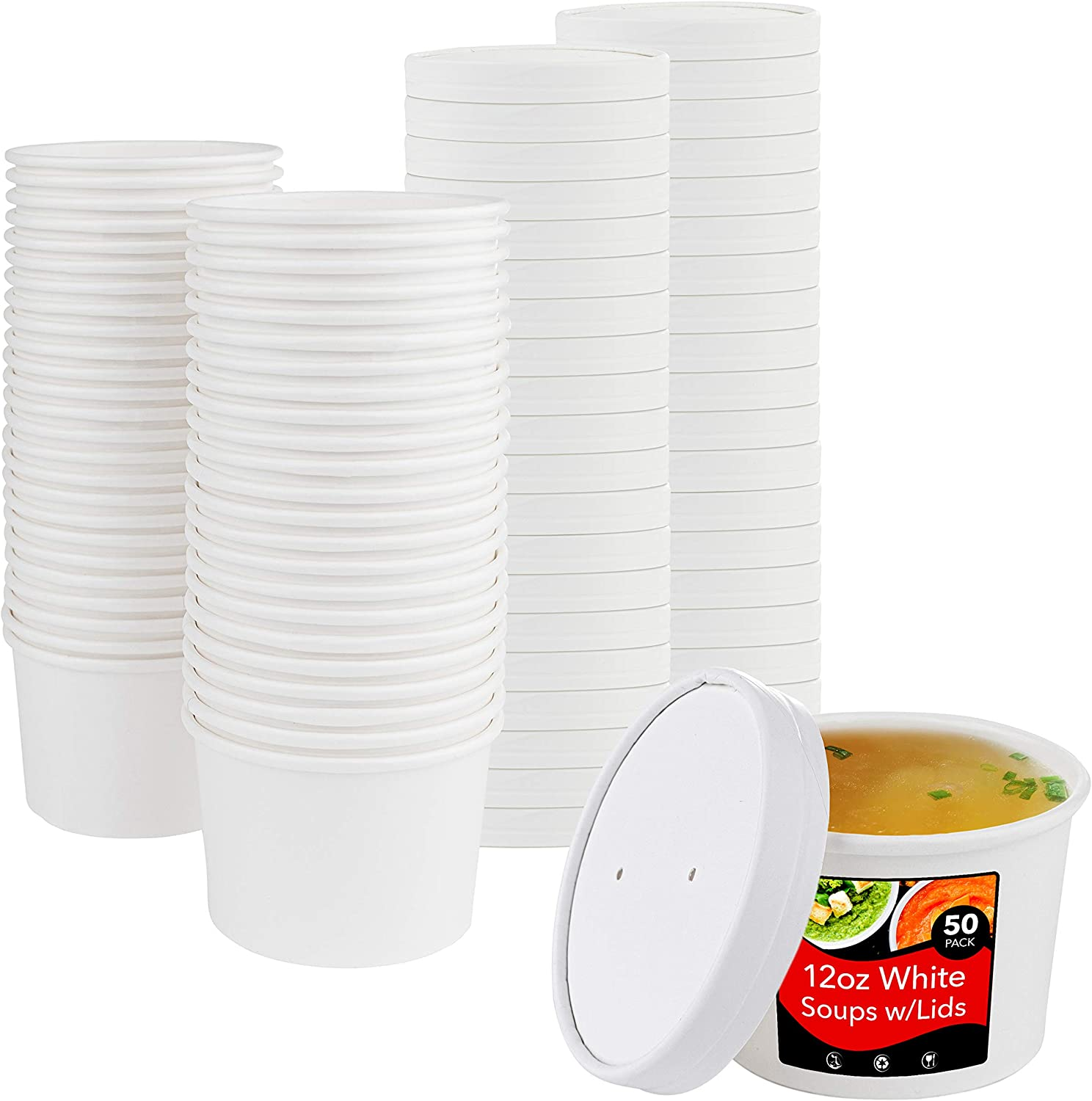 Stock Your Home 12oz White Soup Cups w Lids - 50 count