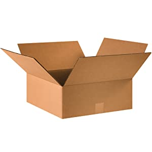 "BOX USA B16166 Flat Corrugated Boxes, 16""L x 16""W x 6""H, Kraft (Pack of 25)"