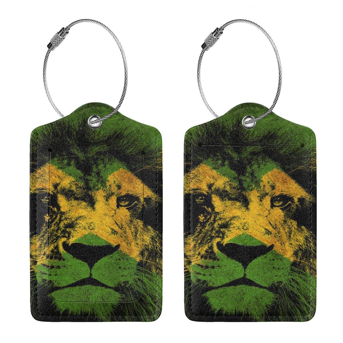 GoldK Jamaican Flag with Lion Leather Luggage Tags Baggage Bag Instrument Tag Travel Labels Accessories with Privacy Cover