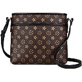 Gerosse Designer Zipper Crossbody Bags for Women, Retro Leather Shoulder Travel Purse with Flower (apricot)