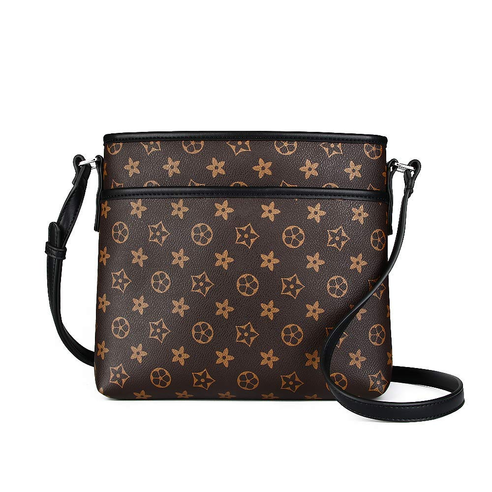 d796e9678a34 Olyphy Designer Zipper Crossbody Bags for Women, Retro Leather Shoulder  Travel Purse with Flower (black)