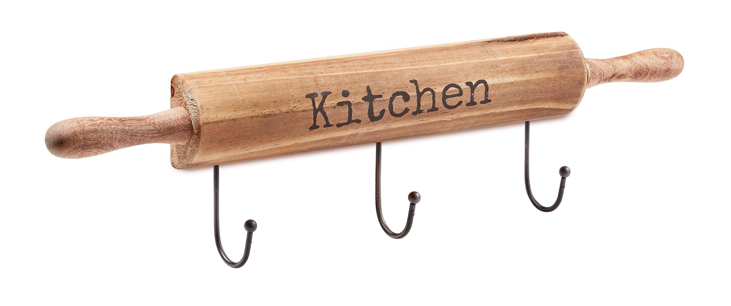 AdirHome Kitchen Utensil & Pot Hook Rack (Wood)