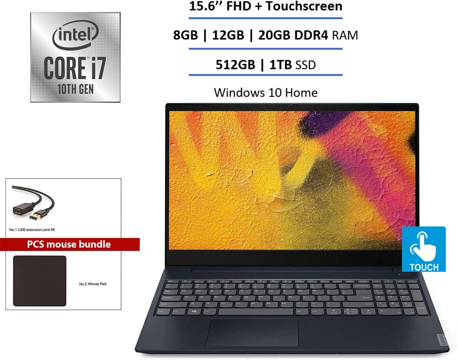 "2020 Lenovo Ideapad S340 15.6"" FHD Touchscreen Laptop Computer, 10th Gen Intel Quard-Core i7-1065G7, 12GB DDR4, 512GB PCIe SSD, Backlit Keyboard, Windows 10 + PCS Store Mouse Bundle Accessories"