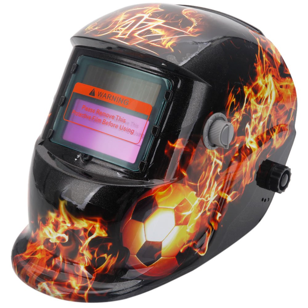 Z ZTDM Safety Insight Variable Solar Power Auto Darkening Welding Helmet Mask, Adjustable Shade Range DIN 9-13/Rest DIN 4,Welder Protective Gear ARC MIG TIG,2pcs Extra Lens+CR2032 Battery,Flame Soccer