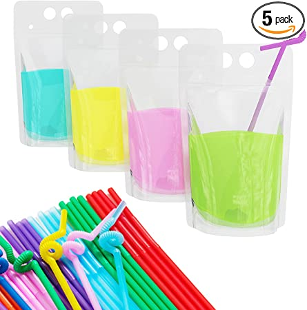 100 Pcs Stand-Up Plastic Drink Pouches Bags with 100 Drink Straws, Zipper Clear Heavy Duty Hand-Held Translucent Reclosable Heat-Proof Bags for Smoothie, Cold & Hot Drinks