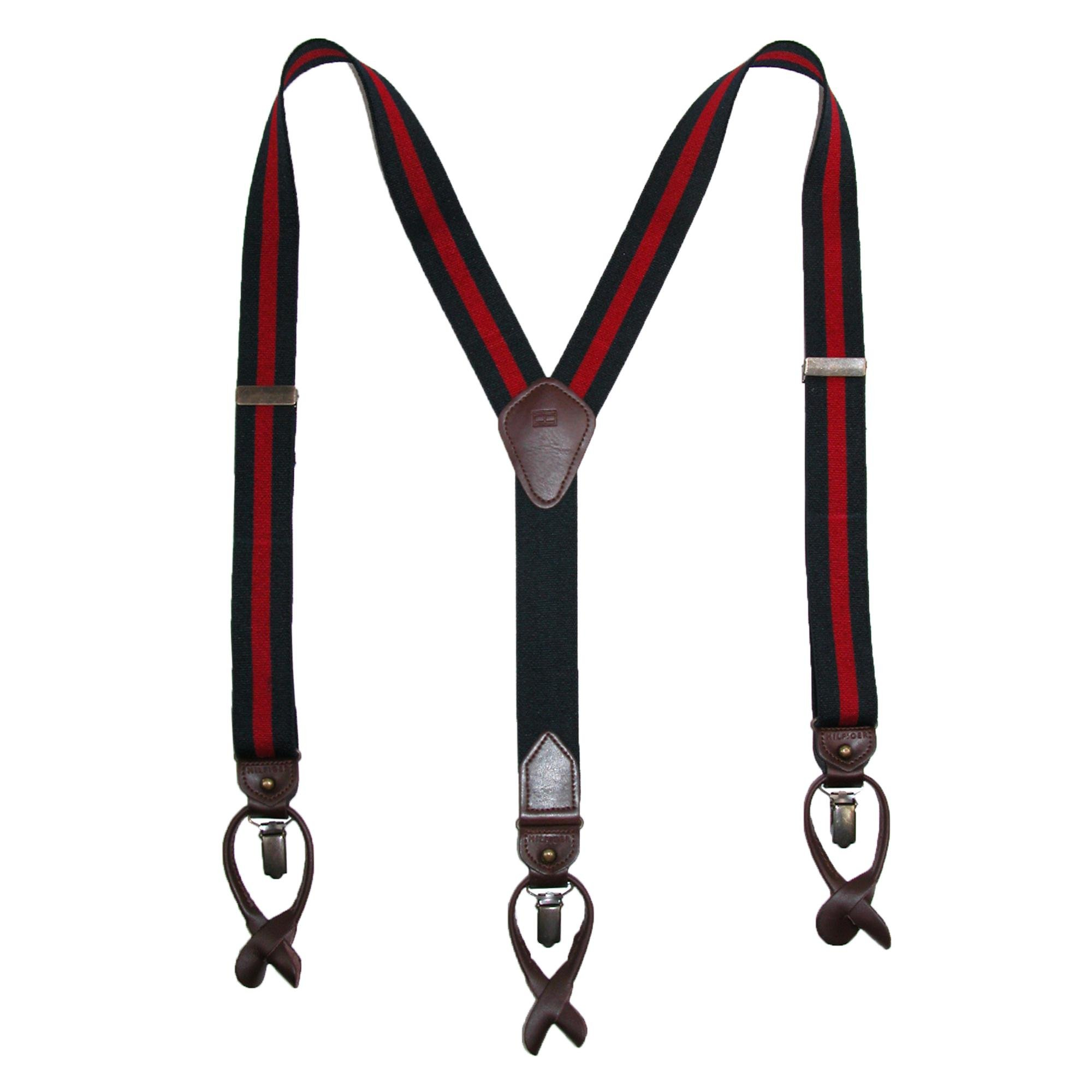 Tommy Hilfiger Men's 32mm Suspenders,Navy/Red,One Size