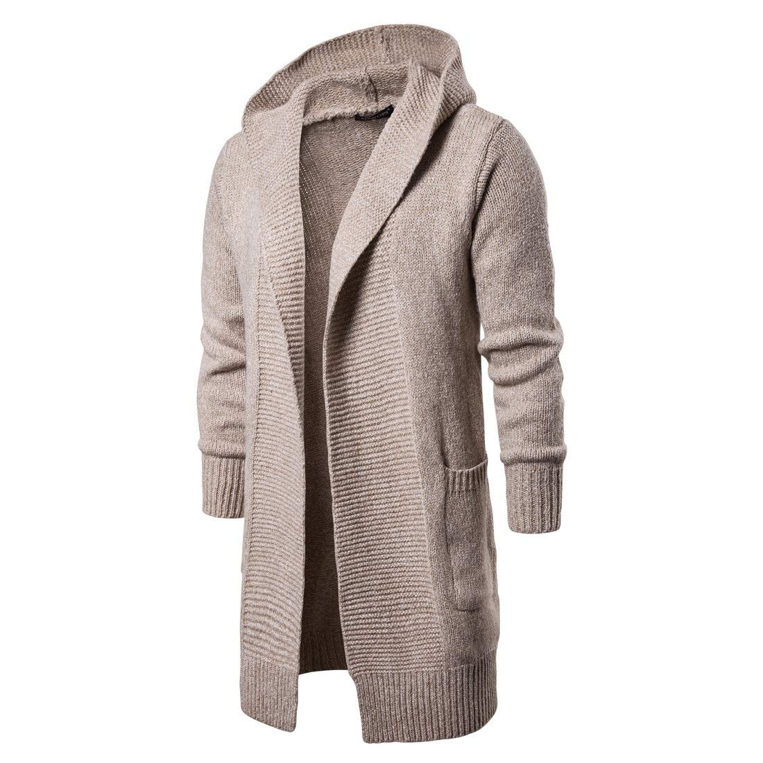 1ba4fb69d2 MAGE MALE Men's Long Cardigan Sweater Hooded Knit Slim Fit Open Front  Longline Cardigans with Pockets (Khaki, S): Amazon.co.uk: Clothing