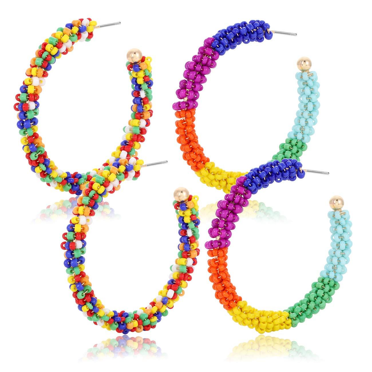 Seed Bead Earrings Hoop Earrings Gifts Earrings Beaded Hoop Earrings Hoops Pierced Earrings Jewelry Stud Hoop Earrings