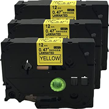"""3PK Black on Yellow Label Tape For Brother TZ TZe 631 Tze631 P-Touch 12mm 1//2/"""""""