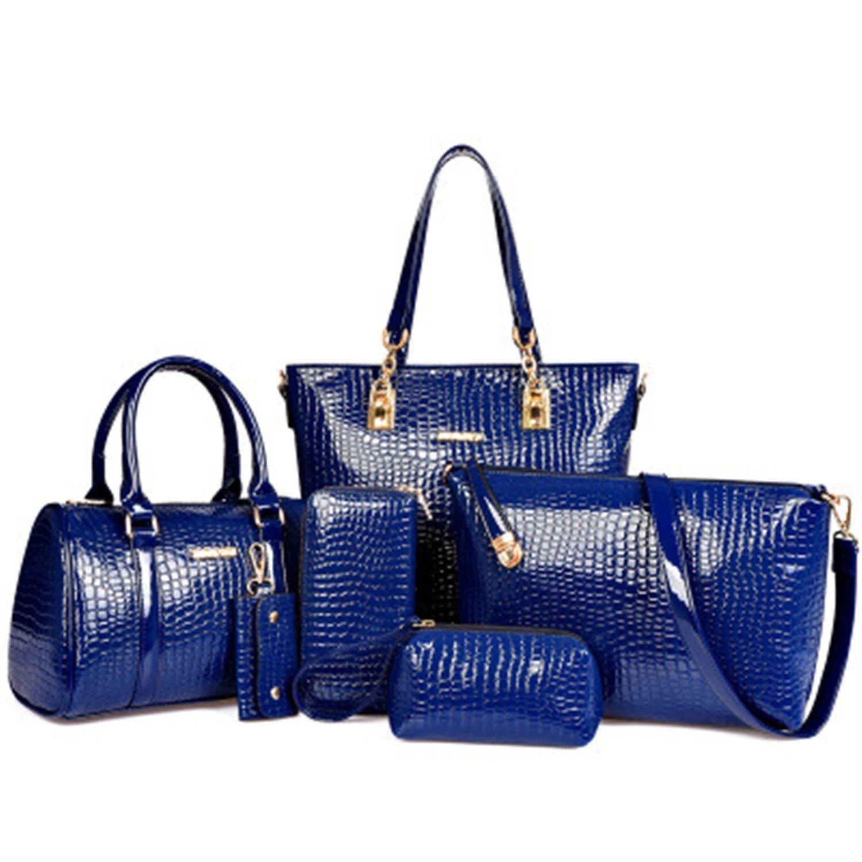 LOKOUO 2016 NEW 6pcs//set Fashion Crocodile Handbag PU Leather Bag Women Handbags Crossbody Bag Handbag+Messenger Bag+rse+Wallet 6 sets Chic