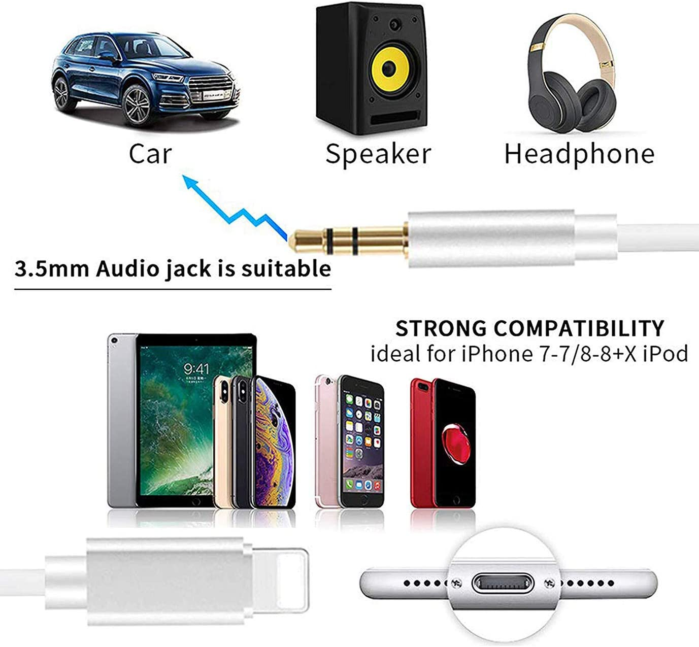 Noir Cable Jack pour iPhone 11 Cable Auxiliaire pour iPhone Voiture 3.5mm Jack pour St/ér/éo//Casques//Haut-Parleur Compatible avec iPhone 7//8//X//XR//XS//11 1M