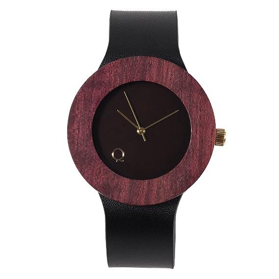 seQoya - Purple Heart| Reloj de Madera con Esfera de Madera y Correa de Piel