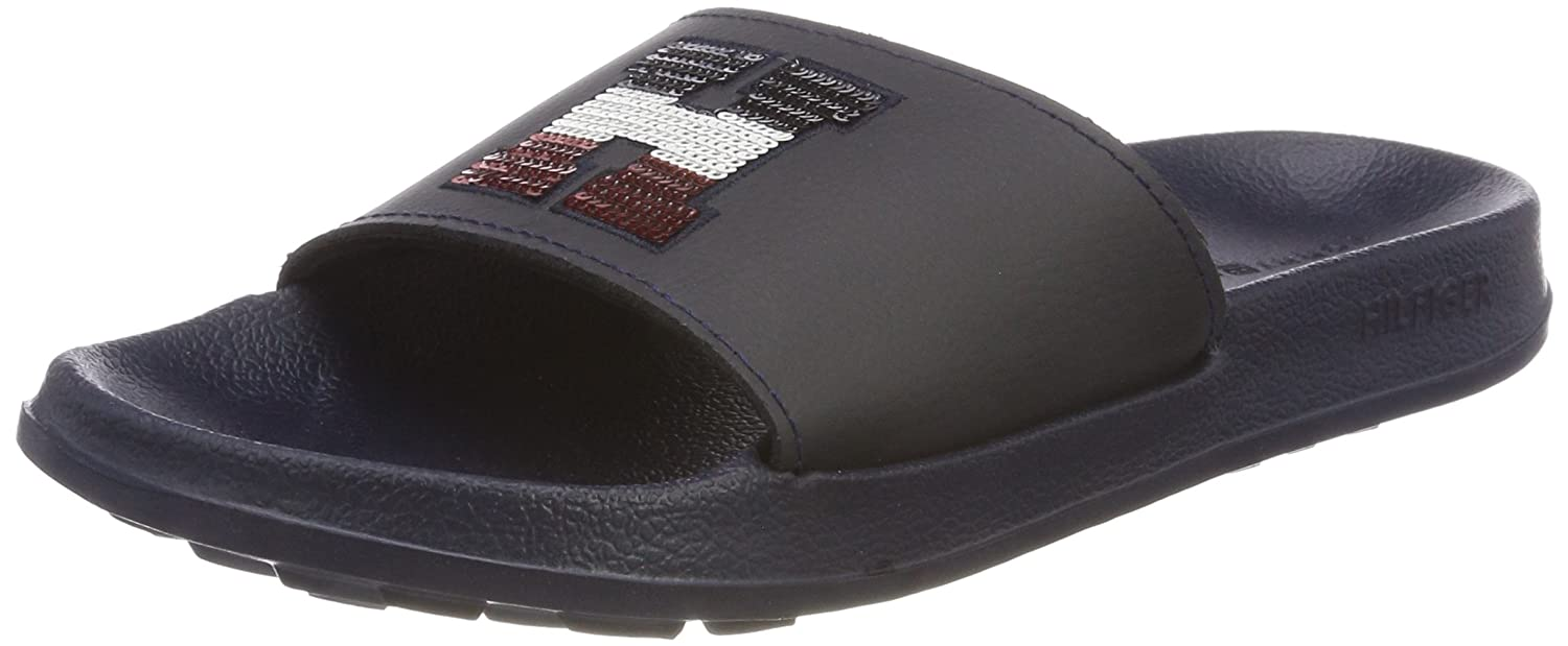 Womens Sequins Sparkle Slide Beach and Pool Shoes, Blue, 2 UK-3 UK Tommy Hilfiger